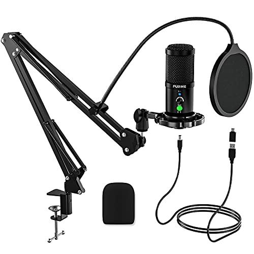 FURINE Microfono Professionale USB a Condensatore Typ-C Plug  n Play per la registrazione, Streaming, Podcasting, Broadcasting, Gaming, Voiceover e altro (Kit Microfono)