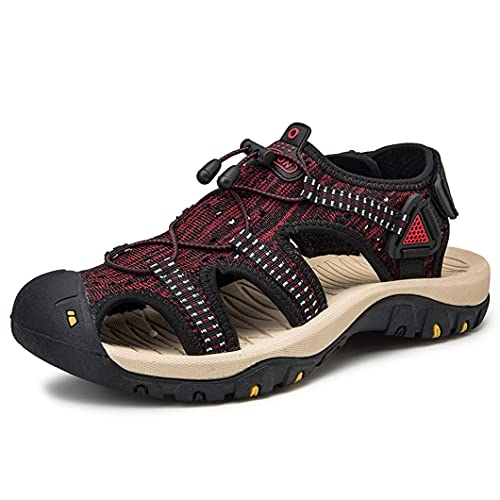 UJDKCF Sandalias de Verano al Aire Libre Hombres Zapatos cómodos Sandalias Sandalias Masculinas Senderismo Chaussure Red 42