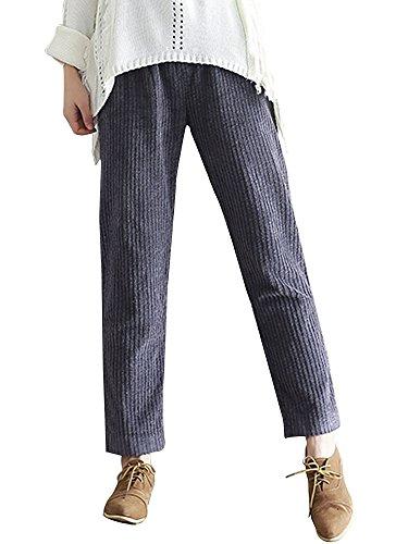 OCHENTA Lazo Pana Pantalones Casual Pantalones con Bolsillos de Pantalón para Mujer Gris X-Large