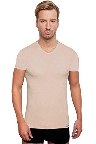 unsichtbares Kurzarm Unterzieh-Shirt V-Neck, Herrenunterhemd, Hautfarben, Größe S
