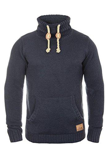 !Solid Paras Herren Winter Pullover Strickpullover Grobstrick Pullover mit Stehkragen, Größe:XL, Farbe:Insignia Blue Melange (8991)