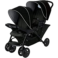 Back seat suitable from birth to approx. 3 years (0-15 kg) Front seat suitable from 6 months to approx. 3 years (max. 15 kg) Four position recline rear seat, two position recline front seat One-hand fold mechanism for quick and easy folding Removable...