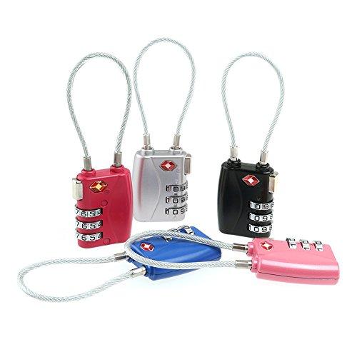 Xizfday Equipaje Candados 5 Paquetes Locks de Equipaje 3 DíGitos Cerradura de Equipaje de Combinación Candados de Anilla Larga de Seguridad