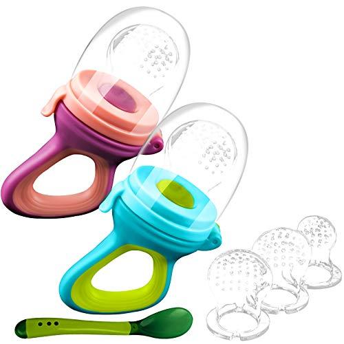 2 Fruchtsauger Baby + 1 Baybylöffel für Baby ab 3 Monate & Kleinkind + baby zubehör 0-6 monate + 6 Silikon-Sauger in 3 Größen - BPA-frei - Schnuller für Obst Gemüse Brei Beikost + Mini Ebook