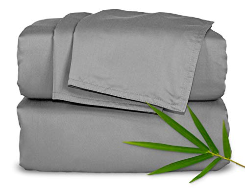 Pure Bamboo Sheets Queen Size Bed Sheets 4 Piece Set, 100% Organic Bamboo, Luxuriously Soft & Cooling, Double Stitching, 16