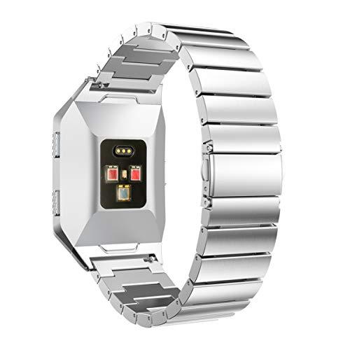 UKCOCO Correa de Metal Fitbit Ionic, Banda Acero Inoxidable Mujeres Hombres Reloj Inteligente Correa de Reemplazo Accesorios de Pulsera para Fitbit Ionic Fitness Tracker (Plata)