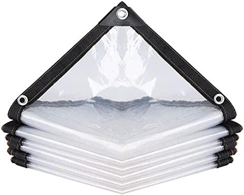 LIUXR Transparent Plane Gewebeplane Abdeckplane Holz Wasserdicht Schwerlast Mit Ösen Balkon Pflanzen Regenfest Schatten Kunststoff Zelt Boden Abdeckung,Transparent_5x6m