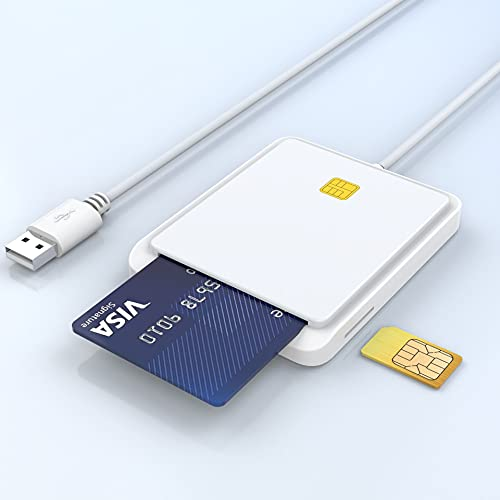 Kartenlesegerät Personalausweis, Lesegerät Personalausweis with Public Accessible Adapter/ID Card/SIM Card/IC Bank Chip Card, Compatible with Windows XP/Vista/7/8/10