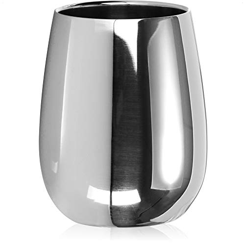 com-four Taza de Acero Inoxidable para Beber - Taza de Vino de Alto Brillo de 200 ml - Taza de Acero Inoxidable Premium To Go - Taza térmica de Doble Pared y sin BPA (200ml)