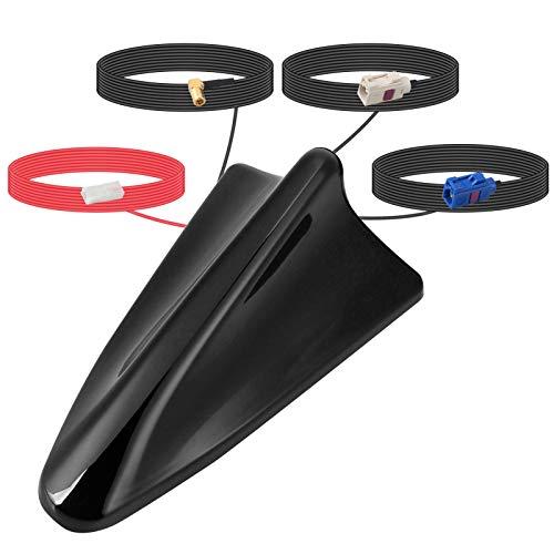 ORROKER Dab + Aerial, Dab Car Shark Fin Aerial SMB Adaptador GPS Universal Roof Receptor de señal de Radio Digital Amplificador de Refuerzo con Cable de extensión de 5m
