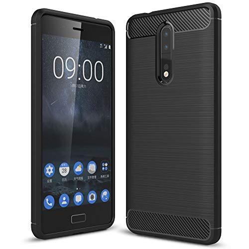 NALIA Handyhülle kompatibel mit Nokia 8, Ultra-Slim Silikon Hülle Cover, Dünne Crystal Phone Schutzhülle, Stoßfeste Hülle Etui Handy-Tasche Backcover Bumper, TPU Smartphone Gummihülle - Schwarz