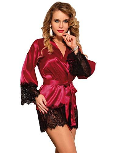 Vestaglia Sexy Donna di Seta Carta a scolla V Pigiama Baby Doll Gonna Corta+Cintura+ G String Kimono in Pizzo Taglie Forti per Casa Hotel 2 Pezzi(Ross