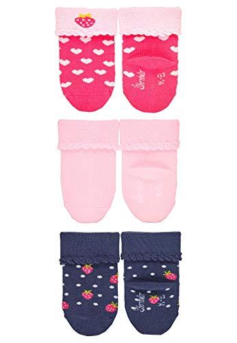 Sterntaler Baby Girls Baby-Söckchen3er-Pack Erdbeere 8312153 Socken, Pink/Rosa/Dunkelblau, 13-14