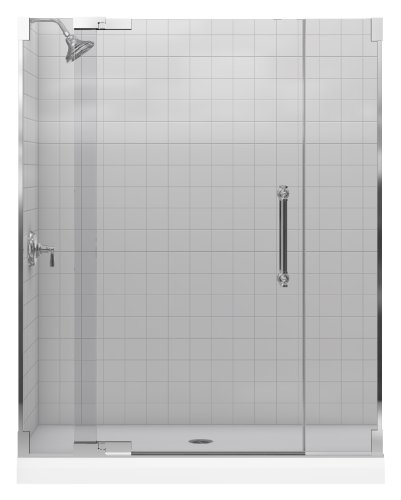 Fantastic Deal! Kohler K-705723-L-SHP Pinstripe Heavy Glass Pivot Shower Door, Bright Polished Silve...