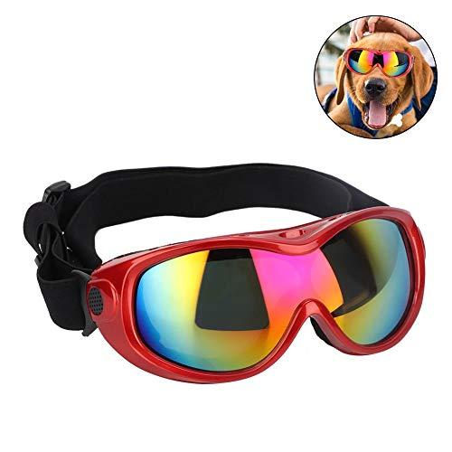 Pssopp Hond zonnebril Winddichte UV Bescherming Hond Goggles Huisdier Bril Oogslijtage Bescherming met Verstelbare Band voor Medium en Grote Honden, Rood