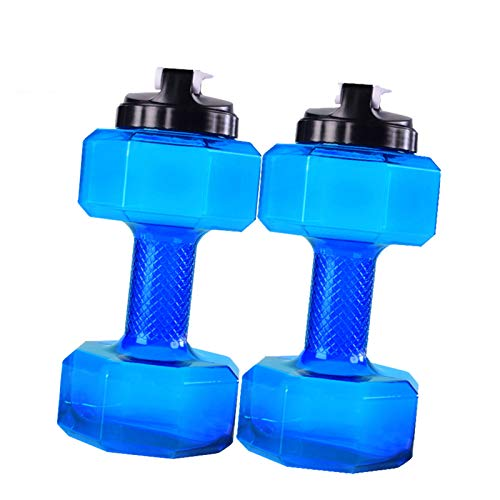 LISYS Botella de Agua Deportiva para Ejercicios, Forma de mancuerna 2.2L / 75oz plástico Transparente a Prueba de Fugas portátil sin BPA de Gran Capacidad, para Gimnasio al Aire Libre Camping