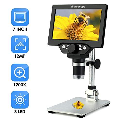 """Microscopio di ispezione digitale 7\"""" LCD 1200X Espansione uscita TV 12.0MP con 8 evidenziatori regolabili luce Micro SD di archiviazione per fotocamera del telefono cellulare di riparazione LED"""