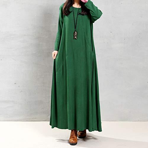 Cor Pura,Baugger Vintage Women Dress Solid Cotton Buttons Bolsos Irregular Round Neck manga comprida Maxi Gown Loose One-Piece