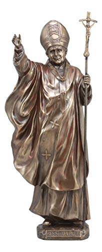 Ebros Faux Bronze Large Venerable Pope John Paul II Holding The Cross Of Christ Statue Vatican Holy Pontiff Saint John Paul The Great Statue
