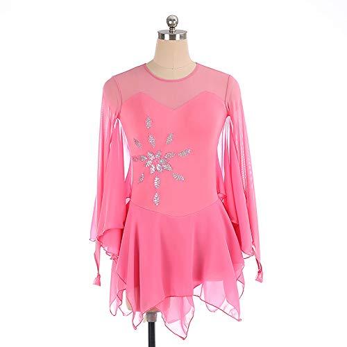 OHHCO Skating Ice Kleid Handgemachte feinen Bohrer Berufswettbewerb Lange Schmetterlings-Hülsen-Rock atmungsaktiv für Mädchen-Frauen,Rosa,XXS