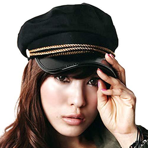 Locomo Mujeres Chica ejrcito Militar Azul Marino yate Marinero Capitn Skipper Disfraz de Cadetes Brim Hat Cap ffh014Negro y Oro