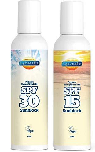 La homeoutdoor® Yaoh Orgánica Semillas de cáñamo sol Pack–Bloqueador solar SPF 30, crema solar SPF 15& Aloe Vera After Sun–Bundle