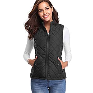 Fashion Shopping fuinloth Women's Quilted Vest, Stand Collar Lightweight Zip Padded Gilet