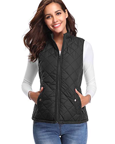 fuinloth Women's Padded Vest, Stand Collar Lightweight Zip Quilted Gilet Black L