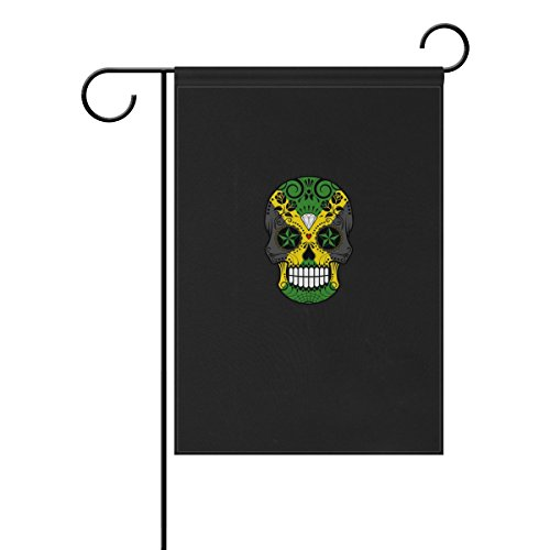 HEOEH bandiera giamaicana con teschio di zucchero con rose per casa e giardino, bandiera decorativa su entrambi i lati, 30,5 x 45,7 cm, poliestere, Multi, 12x18(in)
