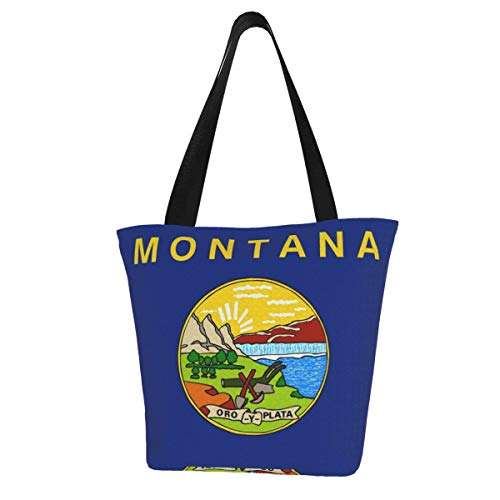 Montana Flag Usa Women'S Large Size Canvas Shoulder Bag Hobo Crossbody Handbag Casual Tote