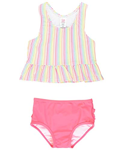 RuffleButts Little Girls Rainbow Stripe Tankini - 2T