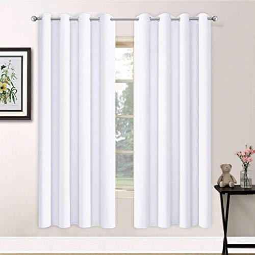 Yakamok Thermal Insulated Curtains Solid Grommet Top Window Curtains for Bedroom, 2 Tie Backs Included(52x72 Inch, Pure White, 2 Panels)