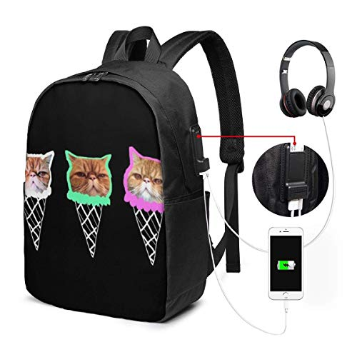 Llynice Robuster Laptop-Rucksack, 43,2 cm, Reiserucksack mit USB-Ladeanschluss für Damen und Herren, passend für Laptop und Notebook, Happy Halloween-Hintergrund, Vektorbild
