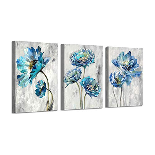 """Abstract Floral Artwork Flower Picture: Teal Splash Painting on Canvas Art for Wall ( 16"""" x 12"""" x 3 Panels )"""