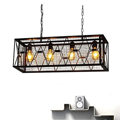 HTZ-M Lámpara Colgante de Jaula Retro, Lámpara de araña de Hierro Forjado Industrial Loft Luz de suspensión de Techo Café Bar Cocina Restaurante Lámpara Colgante Decorativa E27 * 4