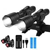 Keenstone Bike Light Set, Rechargeable Bike LED Lights Front and Back 2 Pack, Rechargeable Flashlight 700 Lumen Zoomable and Bike Taillight Easy Install & Quick Release Includes Batteries and Charger