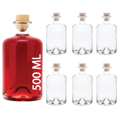 slkfactory, bottiglie di vetro vuote per vino, liquori, aceto, olio o da farmacia (500 ml) 6 pezzi bianco