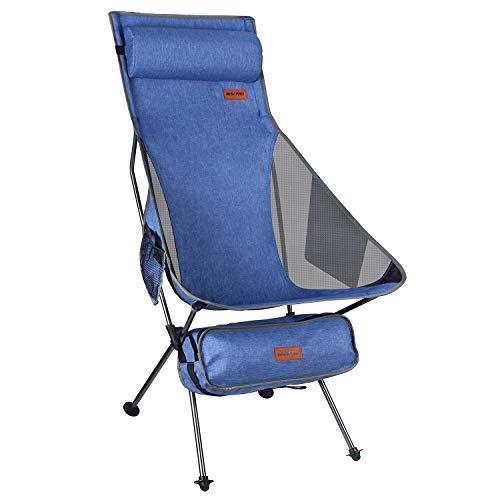 Sillas de camping plegables portátiles ligeras de mezclilla RISEPRO con respaldo alto y reposacabezas con bolsillo de doble cara para caminatas al aire libre, mochileros, viajes y pesca al aire libre
