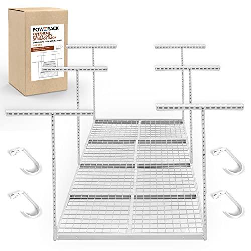 POWERACK Overhead Garage Shelving Storage Rack | Adjustable 4' x 8' Ceiling Garage Organization Shelf | 22-40