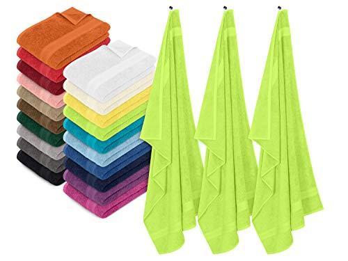npluseins 3er-Pack zum Sparpreis - solide Frottiertücher - erhältlich in 20 modernen Farben und 8 verschiedenen Größen, Badetuch (100 x 150 cm), apfelgrün