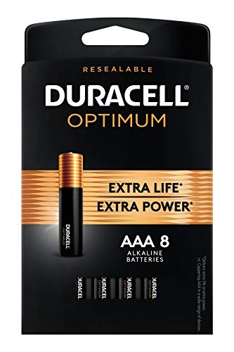 Duracell Optimum AAA Alkaline Batteries | Long Lasting 1.5V Triple A Battery | Resealable Package for Storage | 8 Count