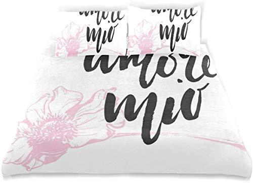 Duvet Cover Set Amore Mio Cursive Handwriting Form with Pastel Outline Flower Decorative 3 Piece Bedding Set with 2 Pillow Shams