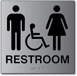ADA Unisex Restroom Wall Sign in Brushed Aluminum - 8x8