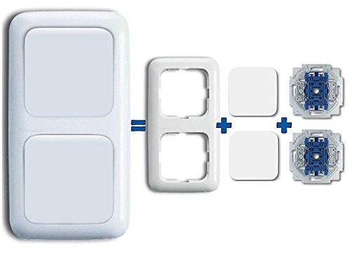 Busch Jäger Komplettset Doppel Lichtschalter als Tastschalter Wipptaster 2020US (2020 US) inklusive 2 fach Rahmen - komplett einbaufertig - alpinweiß - Reflex SI