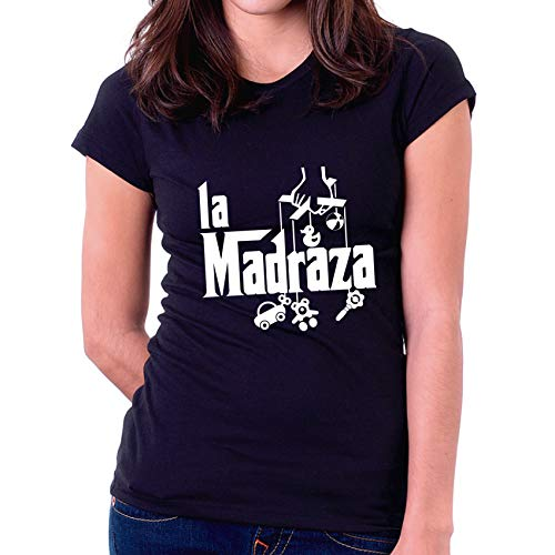 Custom Vinyl Camiseta día de la Madre La madraza (Negra, XL - Normal)