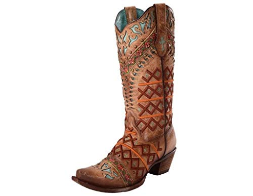 CORRAL Women's Straw Inlay Embroidered Stud Cowgirl Boot Snip Toe Brown 8.5 M