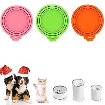 Hogdseirrs Lot de 3 couvercles pour boîtes de conserve, couvercle en silicone, taille 3 en 1, pour nourriture en boîte, pour chien et chat, nourriture pour animaux, sans BPA