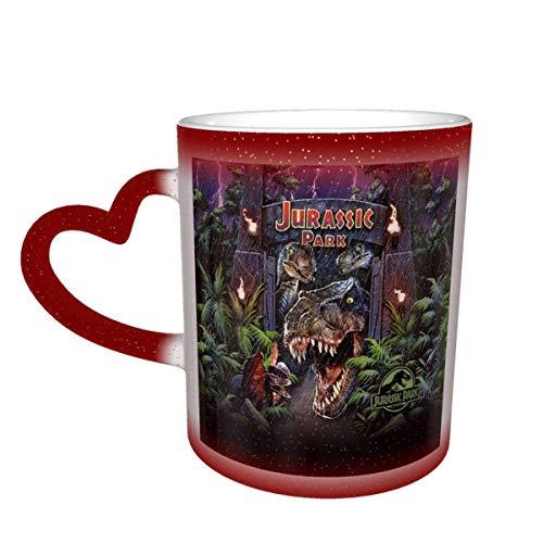 N\A Jurassic Mug Park Taza de café Que Cambia de Color Taza Sensible al Calor Que Cambia en el Cielo Taza de té de cerámica Que Cambia de Color, 12 onzas Rojo