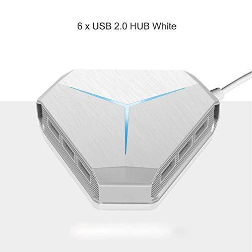 FangsHUAI USB 2.0 Hub, USB-hub met 6 USB 2.0-poorten met TF SD-kaartlezer Mic AUX koelen lichte USB 2.0 hub