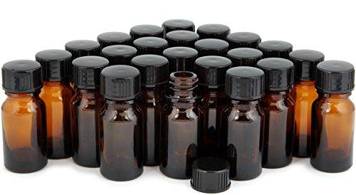 Vivaplex, 24, Amber, 10 ml (1/3 oz) Glass Bottles, with Lids
